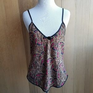 Vintage Silky Paisley Lingerie Cami Tank Top